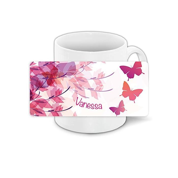 Tasse mit Namen Vanessa und süßem Schmetterling-Motiv für Mädchen - Tasse für Kinder Keramiktasse