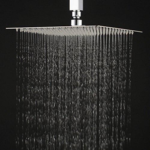 rain like shower head. Hiendure  12 Inch High Pressure Ultra Thin 304 Stainless Steel Square Rain Shower Head Rainfall Amazon Co Uk