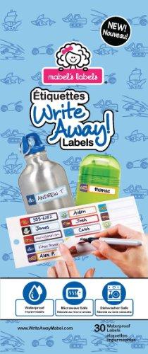 Mabel's Labels ML-876720000046 Write Away Abziehen und Aufkleben - Etiketten für Jungen, 30 er pack, blau