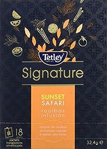 Tetley Boîte de 18 Sachets Enveloppes Sunset Safari, Infusion de Rooibos Aromatisée Orange & Chai