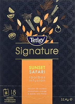 Tetley Enveloppes Sunset Safari Infusion de Rooibos Aromatisée Orange & Chai - Boîte de 18 Sachets