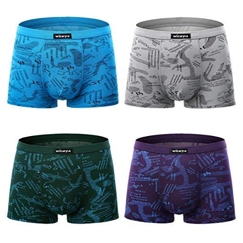 wirarpa Boxershorts Men Modal Herren Unterhosen Männer Pants Microfaser Hipster Unterwäsche Retroshorts 4er Pack Größe XL
