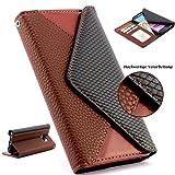 Handy Schutz Tasche im Portmonee Design für Samsung Galaxy S6 EDGE Croco Look Brieftasche Smartphone Cover Clutch Case ScorpioCover braun