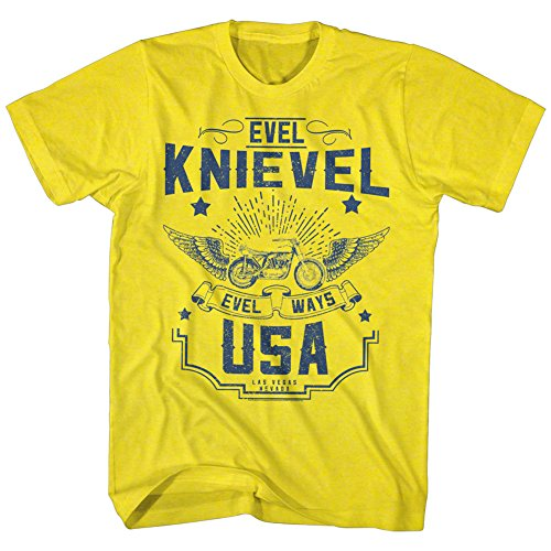 Evel Knievel - Herren Old Knievel T-Shirt Yellow