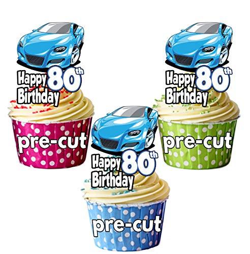 pretagliato blu auto sportiva-° compleanno-commestibile topper per cupcake/cake Decorations-Maglietta-uomo-Son-marito-Dad (confezione da 12)