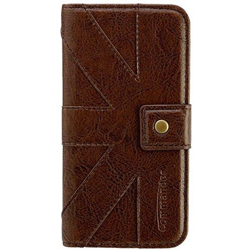 COMMANDER venice brown premium étui de protection à rabat pour apple iPhone 6 en cuir véritable avec licence produit et chiffon de nettoyage iMoBi