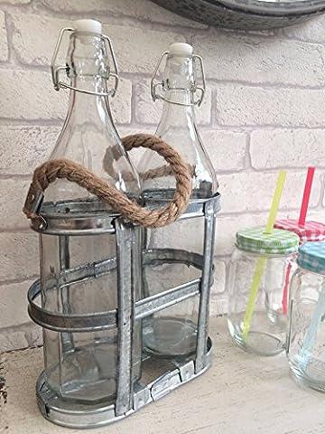 Français Deux bouteilles Porte-Crate Porte-métal Shabby Caddy Garden Vintage Style