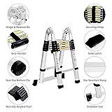 LANGRIA Mehrzweck Teleskopleiter Leiter Aluleiter 3.8 M/12.5 FT Klappleiter mit Scharnieren, EN131 Zertifiziert, 12 Stufen, 150kg / 330 Lb Kapazität -
