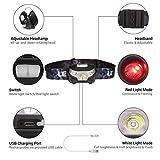 LE CREE LED USB wiederaufladbar Stirnlampe, 5 Lichtmodi, inklusive Rotlicht, inklusive USB Kabel, handfreie Kopflampe, LED Scheinwerfer, Ideal für Camping, Laufen, Jagd und Lesen, Campinglampe, Aussenleuchte - 2