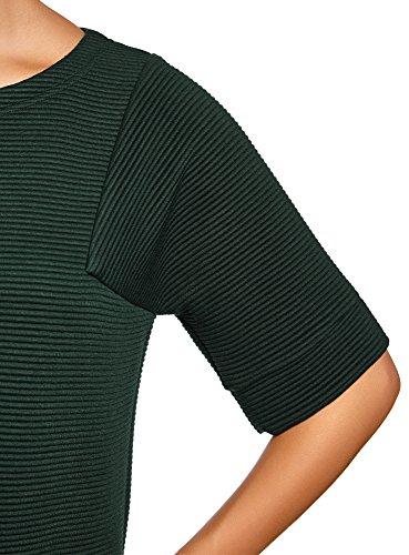 oodji Ultra Damen Lässiges Geripptes Kleid Grün (6900N)
