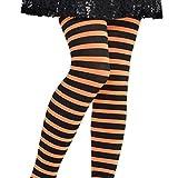 Collant Fantaisie D'enfant - Rayures Noires Et Orange - Taille 6-8 Ans