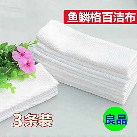 Paño absorbente tela Fish-Microfiber Dish paños Clout engrosada Paño de limpieza de vidrio blanco cargado tres (40X50) de tres cartuchos