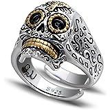 WWM& Vendimia de la joyería de Plata S925 plata tailandesa tallada chico de la ciudad de cráneos anillo abierto de plata masculino dominante personalidades