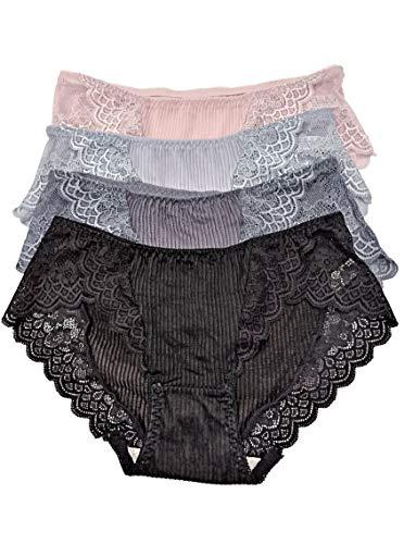 Trim Hipster-höschen (SEPITER Damen Panties Hipster Ultra Soft Baumwolle Slips mit Spitze Trim 4er Pack (L))