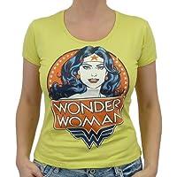 Logoshirt–DC Comics Wonder Woman Portrait T-Shirt da ragazza, Canary Yellow,