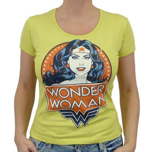 Logoshirt-DC Comics Wonder Woman Portrait T-Shirt da ragazza, Canary Yellow, Donna, LOGOSHIRT - DC COMICS - WONDER WOMAN PORTRAIT Girlie Shirt, Größe L, giallo, L