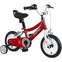 "Moma Bikes Infantil 12"" Bicicleta con ruedines incluidos, Rojo, Unic Size"