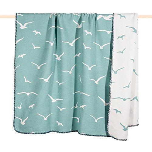PAD - Decke, Kuscheldecke - Seagull Möwe - Farbe: Dusty Aqua, Türkis - 150 x 200 cm