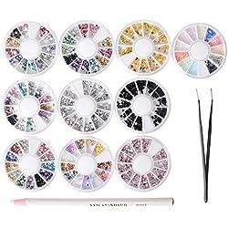 10cajas con piedras para manicura, decoración para uñas, perlas, cristales brillantes, con 1 lápiz de recogida y pinzas en bolsa