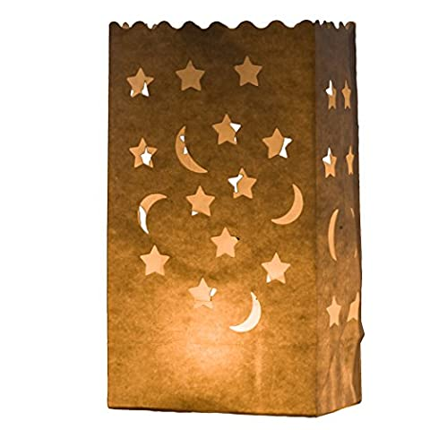 7 STYLES AVAILABLE HERE - 10 x White Craft Paper Tea Light Holder Lantern Lamp Candle Bags - Decoration for Parties, Weddings, Birthdays by Kurtzy TM (Moon &