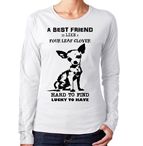teesquare1st Women's Chihuahua Best Friend PB 2 White Long Sleeved T-Shirt Size Large