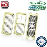 Genuis Nicer Dicer Magic Cube gourmet | Messer-Set XXL | 4 Teile | Obst- & Gemüseschneider | Bekannt aus TV | NEU