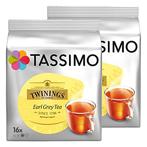 Tassimo Twinings Earl Grey Tee, Schwarzer Tee, Schwarztee, Kapsel, 2er Pack, 2 x 16 T-Discs