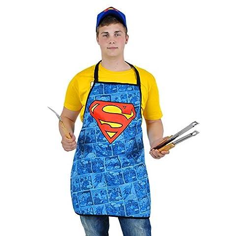 Superman - Logo Schürze blau Kochschürze Party Latzschürze Kostüm Grillschürze (Clark Kent Lois Lane Kostüm)