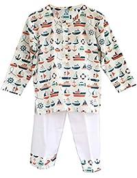 Frangipani Unisex Cotton Navy Boat Pyjama Set
