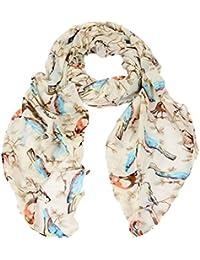 Calonice Amorino Damen Accessoire Schal Schal Weiß Vielfarbig Weißes Vielfarbiges Vogel-Muster Polyester Einheitsgröße 104x187x0.1 cm (BxHxT) 22900