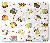 Dessert Maus Pad, Cartoon Muster mit Muffins und Cupcakes auf weißem Hintergrund mit Herzen und Punkte, Standard Größe Rechteck rutschfeste Gummi Mauspad, multicolor