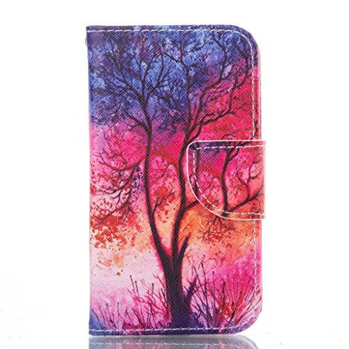 Custodia per iPhone 5, iPhone 5S, iPhone SE Custodia, idatog (TM) Flip Magnetica Custodia a Libro, con protezione per lo schermo in vetro temperato], Colorful Design Pattern PU in pelle pieghevole cus Red tree sunset