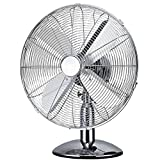 "Oypla Electrical 12"" Inch Chrome Metal 3 Speed Desk Fan Oscillating"