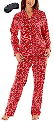i-Smalls Damen Alles über Herz Poster Fleece-Pyjama mit schwarzer Augenmaske (38-40) Red