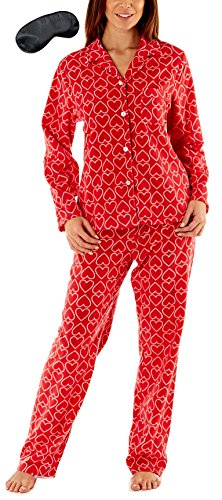 i-Smalls Damen Alles über Herz Poster Fleece-Pyjama mit schwarzer Augenmaske (38-40) Red (Herz-flanell-pyjama)
