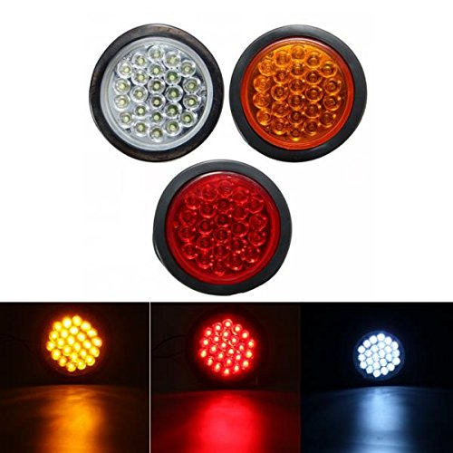 ILS - 24 LED Red White Yellow Round Reflector Rear Tail Brake Stop Marker Light Indicator Truck Trailers (Trailer Light Tail Lense)