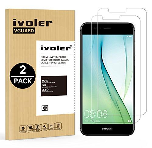 ivoler [2 Stücke] Panzerglas Schutzfolie für Huawei Nova 2 [9H Härte] [Anti- Kratzer] [Bläschenfrei] [2.5D R&e Kante]