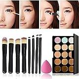 Reixus(TM) 15 couleurs Fondation Concealer Palette + ¨¦ponge + 8Pcs Pinceaux Contour nu Visage camouflage de maquillage professionnel [Noir]