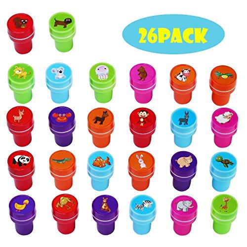 26 Stück Tier Stempel zum Selbermachen und Färben, 26 verschiedene Tiere, 5 verschiedene Tintenfarben (style 1)