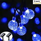 2 pack easyDecor Cadena de Luces Solar Luminosa Exterior, (6m 30 LED) 8 Mode Burbuja Bola de cristal Luz de Navidad Impermeable para Navidad Decoraciones, Casas, Jardín, Patio, Bodas, Party (azul)