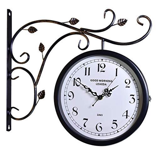Eeayyygch orologio da parete in stile retrò in ferro battuto semplice stile nordico orologio da parete con orologio da parete a doppia faccia (colore : -, dimensione : -)