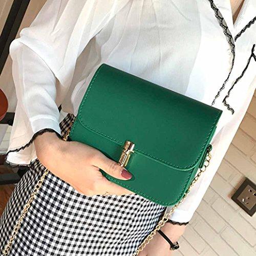 Pu Borsa, Moda Donna Spalla Borsa Catena Strap Messenger Borse Fibbia In Metallo by Kangrunmy Verde