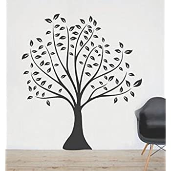Syga black leaves tree wall sticker pvc vinyl 50 cm x 5