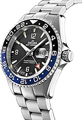 Swiss Sport Watch – Delma Men's Watch – GMT Meridian, Diameter 43 mm, Black