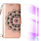 The Grafu Galaxy J6 2018 Case, Flip Leather Cover Card Slot Holder with KickStand and Free Tempered Glass Screen Protector for Samsung Galaxy J6 2018, Rose Gold