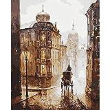 Pintura Al Óleo A Mano Las Calles De Roma Espejos Decorativos De Pintura De Lino Arte De La Pared Para La Sala De Estar 16x20 inch (40x50 cm) Sin marco