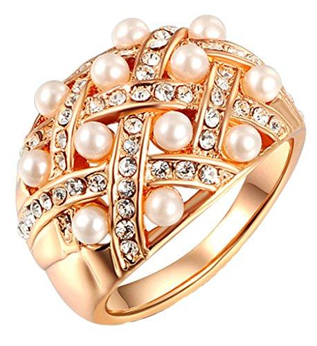 Gnzoe Gioielli, Placcato Oro Rosa Pearls Cubic Zirconia Promessa Banda Anello di Nozze Per Donna