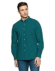 Allen Solly Mens Checkered Slim Fit Casual Shirt (AMSF318F00269944_Navy with Green)