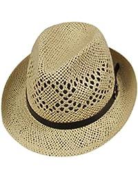 eb5086f9 Unisex Hollowing Straw Hat with Belt, Jazz Panama Trilby Fedora