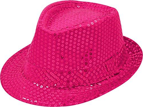 Pailletten Hut Glitzer Kappe Sylvester Karneval Party 11 Farben (Pink)